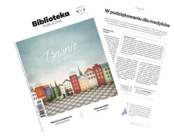 """Miesięcznik Biblioteka Publiczna wspomina o naszej akcja """"W podziękowaniu dla medyków""""."""
